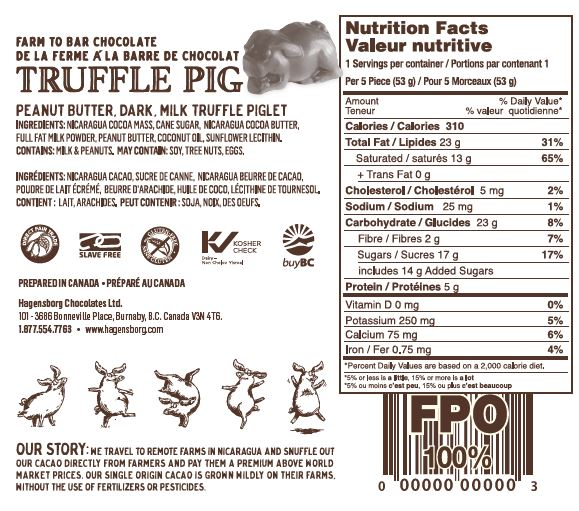 Peanut Butter Chocolate Truffle Piglets - Nutrition Label