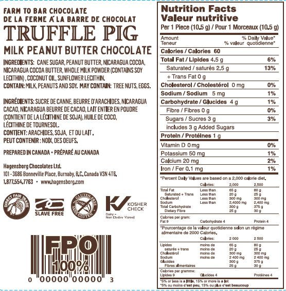 47% Cacao Milk Chocolate Peanut Butter Piglet Label
