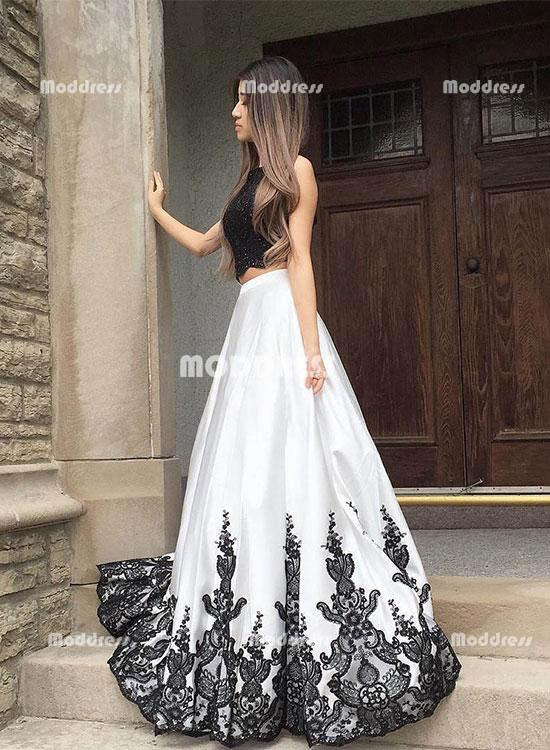 9acdfc6309 2 Pieces prom dresses Beaded Lace Evening Dresses Backless A-Line Formal  Dresses