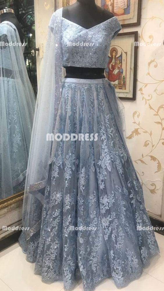 21b27ab848 2 Pieces Long Prom Dresses Applique Beaded Evening Dresses Off the Shoulder  Formal Dresses
