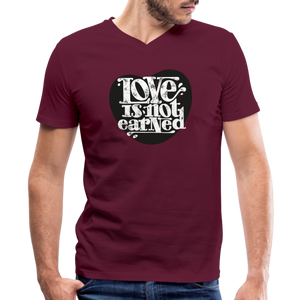 Love is Not Earned | Men's V-Neck T-Shirt | Agape Flashcards