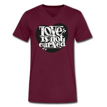 Load image into Gallery viewer, Love is Not Earned | Men's V-Neck T-Shirt | Agape Flashcards - maroon