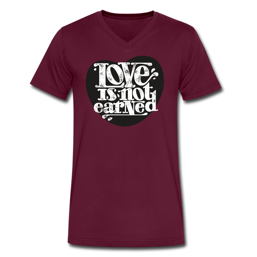 Love is Not Earned | Men's V-Neck T-Shirt | Agape Flashcards - maroon