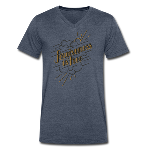 Forgiveness is Free | Men's V-Neck T-Shirt | Agape Flashcards - heather navy