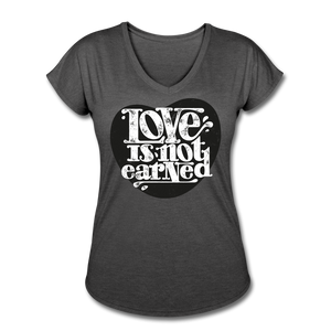 Love is Not Earned | Women's V-Neck T-Shirt | Agape Flashcards - deep heather