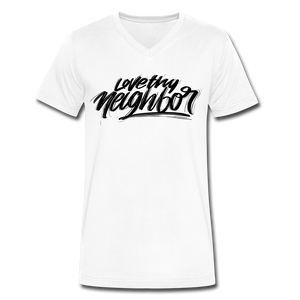 Love Thy Neighbor | Men's V-Neck T-Shirt | Agape Flashcards - white