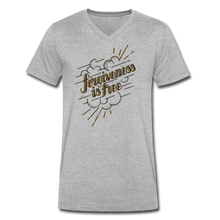 Load image into Gallery viewer, Forgiveness is Free | Men's V-Neck T-Shirt | Agape Flashcards - heather gray