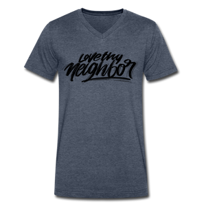 Love Thy Neighbor | Men's V-Neck T-Shirt | Agape Flashcards - heather navy