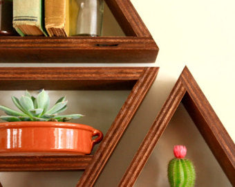 Lifestyle photo example of handmade geometric shelves