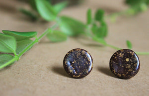 Tenmoku Ceramic Stud Earrings