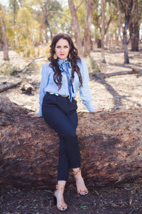 """Decatur"" Denim Bow Tie Top"