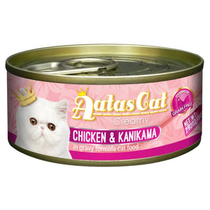 Aatas Cat Creamy Chicken & Kanikama in Gravy Canned Cat Food, 80g.Happy Hoomans