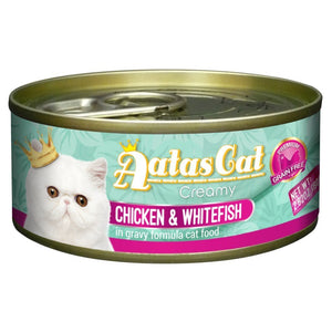 Aatas Cat Creamy Chicken & Whitefish in Gravy Canned Cat Food, 80g.Happy Hoomans