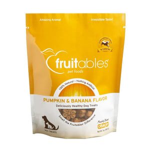 Fruitables Pumpkin Baked Banana Flavour Crunchy Dog Treats, 7oz - Happy Hoomans