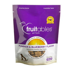 Fruitables Pumpkin Baked Blueberry Flavour Crunchy Dog Treats, 7oz - Happy Hoomans