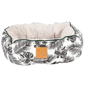 Mog & Bone Reversible Cat Bed - Black Tropical Leaves - Happy Hoomans