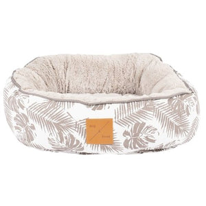 Mog & Bone Reversible Cat Bed - Mocca Tropical Leaves - Happy Hoomans