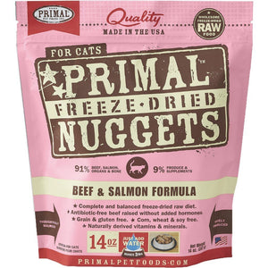 Primal Raw Freeze-Dried Feline Nuggets Beef & Salmon Formula Cat Food (2 Sizes) - Happy Hoomans