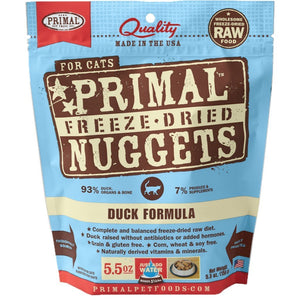 Primal Raw Freeze-Dried Feline Nuggets Duck Formula Cat Food (2 Sizes) - Happy Hoomans