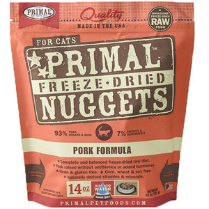 Primal Raw Freeze-Dried Feline Nuggets Pork Formula Cat Food (2 Sizes) - Happy Hoomans