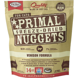 Primal Raw Freeze-Dried Feline Nuggets Venison Formula Cat Food (2 Sizes) - Happy Hoomans