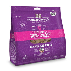 Stella & Chewy's Yummy Lickin' Salmon & Chicken Dinner Morsels Freeze-Dried Raw Cat Food (2 Sizes) - Happy Hoomans