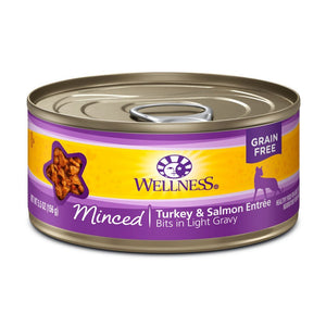 Wellness Complete Health Minced Turkey & Salmon Entrée Grain-Free Canned Cat Food, 5.5oz - Happy Hoomans