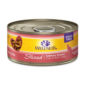Wellness Complete Health Sliced Salmon Entrée Grain-Free Canned Cat Food, 5.5oz - Happy Hoomans
