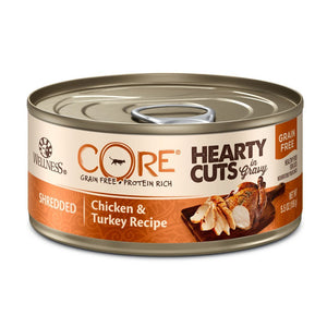 Wellness CORE Hearty Cuts Chicken & Turkey Grain-Free Canned Cat Food, 5.5oz - Happy Hoomans