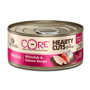 Wellness CORE Hearty Cuts Whitefish & Salmon Grain-Free Canned Cat Food, 5.5oz - Happy Hoomans