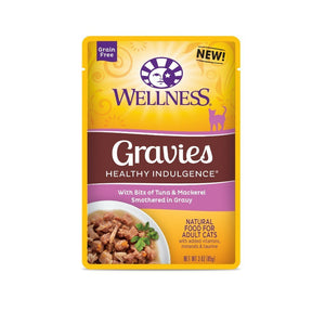 Wellness Healthy Indulgence Gravies Tuna & Mackerel Grain-Free Wet Cat Food, 3oz - Happy Hoomans