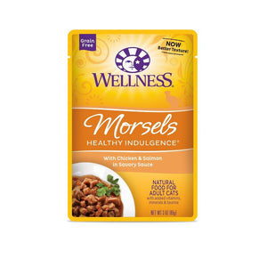 Wellness Healthy Indulgence Morsels Chicken & Salmon Grain-Free Wet Cat Food, 3oz - Happy Hoomans
