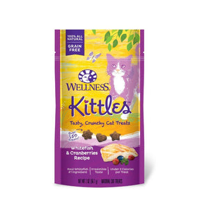 Wellness Kittles Whitefish & Cranberries Grain-Free Crunchy Cat Treats, 2oz - Happy Hoomans