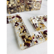 Domino Set Magentaflowers Red Petals & Gold Leaf
