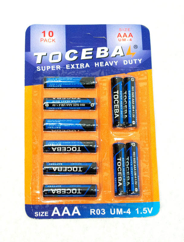 10 PC Toceba AAA batteries - Dallas General Wholesale