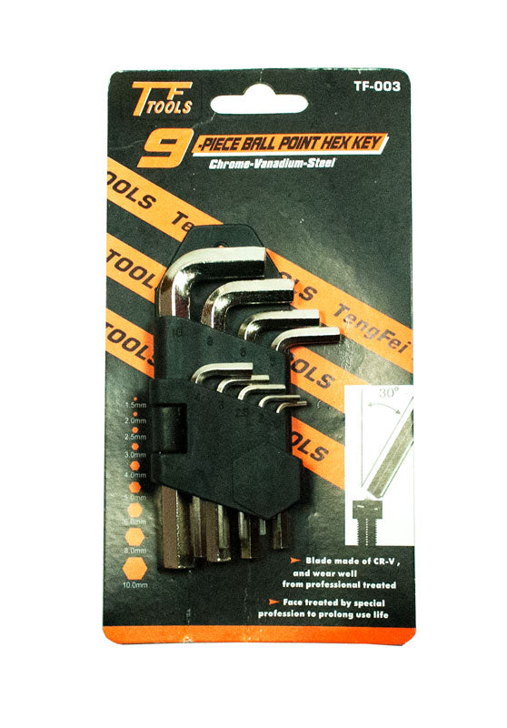 9 PC Ball Point Hex Key Wrench Set - Dallas General Wholesale
