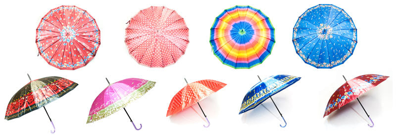 Satin Silk Adults Automatic Printed Umbrellas - Dallas General Wholesale
