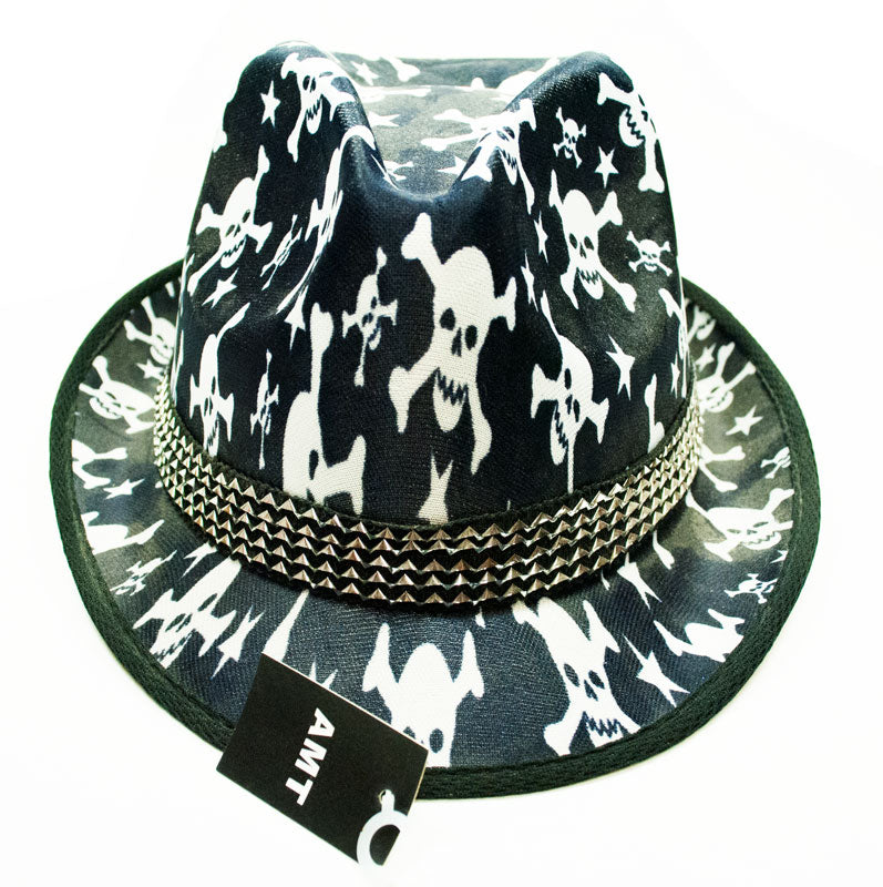 Skull Printed Fedora Hats - Dallas General Wholesale