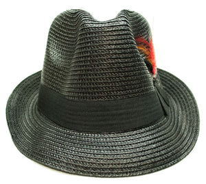 Straw Fedora Hat with Feathers - Dallas General Wholesale