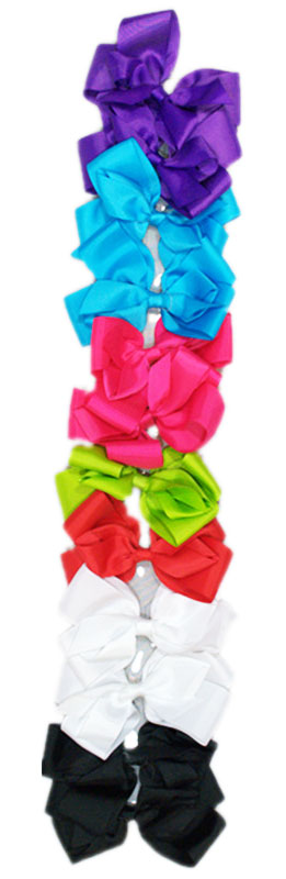 Solid Color Ribbon Hair Bows - Dallas General Wholesale
