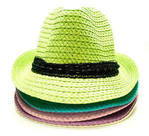 Pastel Color Straw Fedora Hat - Dallas General Wholesale