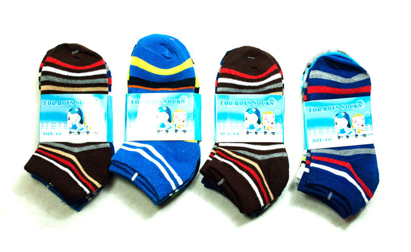 Boy's Stripe Ankle Socks - Dallas General Wholesale