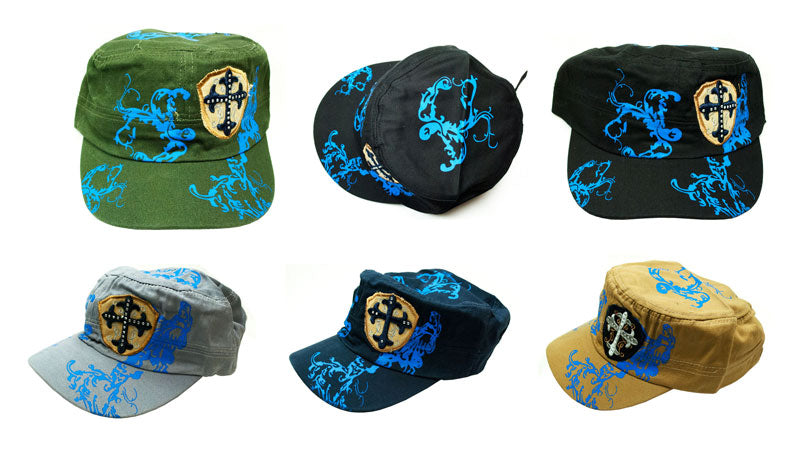 Studded Cross Cadet Caps - Dallas General Wholesale