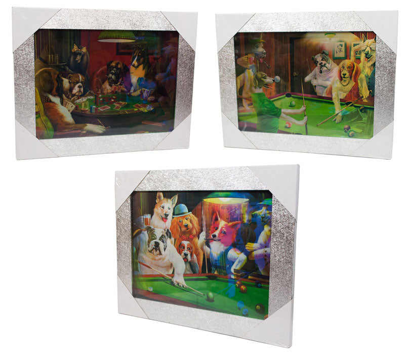3D Picture Frame of Dogs Playing Poker and Pool Wholesale - Dallas General Wholesale