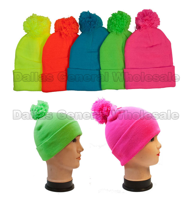 Neon Color Knitted Beanie Hats with Pompom Wholesale - Dallas General Wholesale