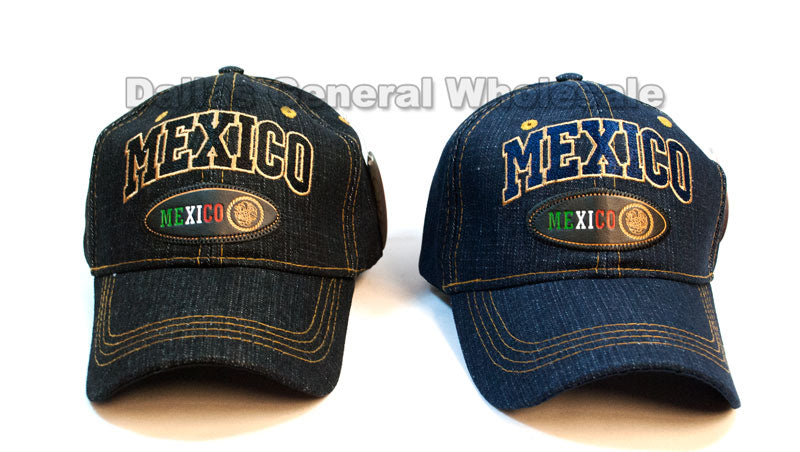 """Mexico"" Casual Denim Baseball Caps Wholesale - Dallas General Wholesale"