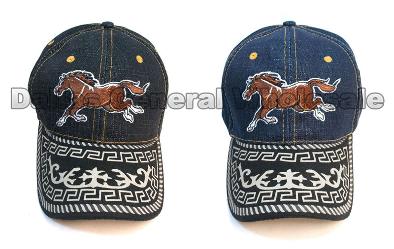 """Running Horse"" Denim Casual Caps Wholesale - Dallas General Wholesale"