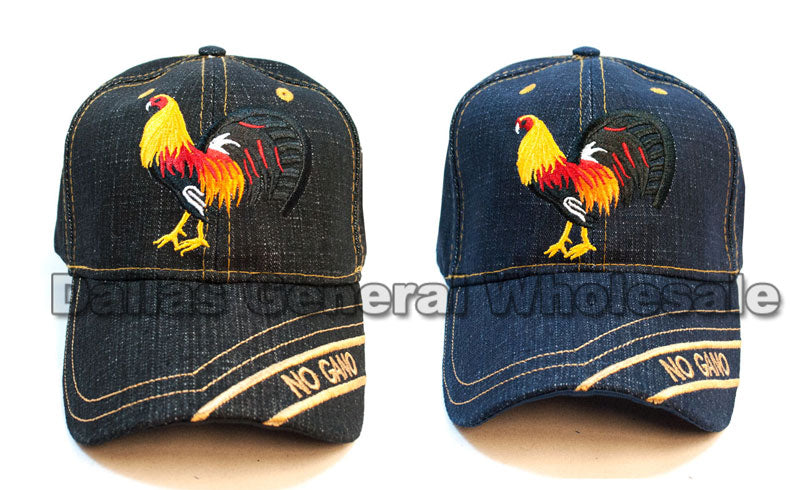 """Rooster"" Adults Denim Casual Caps Wholesale - Dallas General Wholesale"