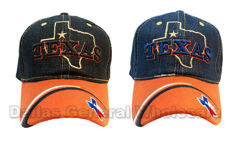 """Texas"" Adults Casual Denim Caps Wholesale - Dallas General Wholesale"