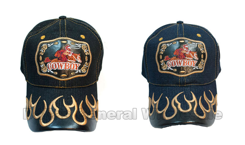 """Cowboy"" Casual Denim Caps Wholesale - Dallas General Wholesale"